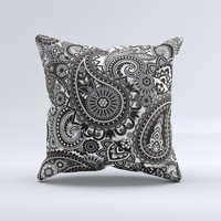 Black White Paisley Pattern V1 Ink-Fuzed Decorative Throw Pillow