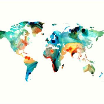'Map of The World 11 -Colorful Abstract Art' Art Print by Sharon Cummings
