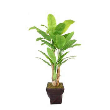 "82"" Artificial Banana Tree with Real Touch Leaves in 17.5"" Black/Bronze Fiberstone Planter"