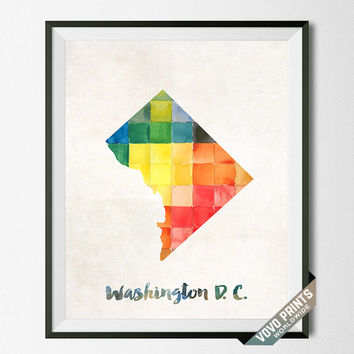 Washington, DC, D.C. Map, Print, Artwork, Wall Art, Decor, USA, Poster, Watercolor, Painting, Decoration, Gift, Home Town, States [NO 45]