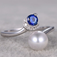 Diamond and pearl ring sapphire engagement ring 7mm South sea pearls 14k/18k white gold