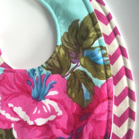 Baby Bibs Girl Set (2) - Modern Girl - Flower and Chevron, Triple Layer Bibs, Your Choice Velcro or Snap Closure