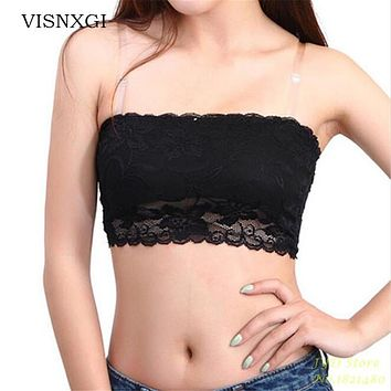 Women Pretty Sexy Lace Floral Casual Brunette Lady Crop Dough Band With Seamless Solid Black White Pink Color Bras Bust 54-64 Cm