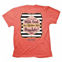 Cherished Girl With God All Things are Possible Girlie Christian Bright T Shirt