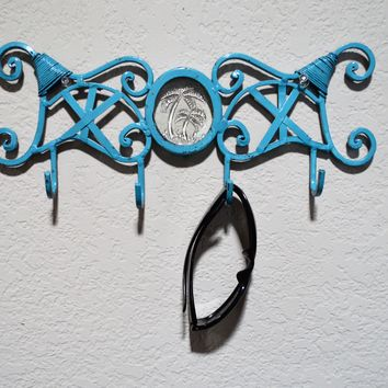 Teal Towel Hook/Coat Rack/Jewelry Organizer/Key Hook with Glass Center Palm Trees