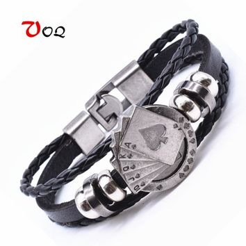 2017 Surfer Rope Leather Friendship Bracelet Lucky Spade Straight Flush Poker Handmade Charm Bracelets for Women Men Jewelry