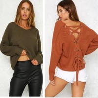 Loose V-Neck Long-Sleeved Knitted Sweaters