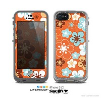 The Orange Vector Floral with Blue Skin for the Apple iPhone 5c LifeProof Case