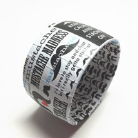 Quirky Print Bangle Bracelets, Bracelet featuring Mustache and words, Novelty Mustache Jewelry