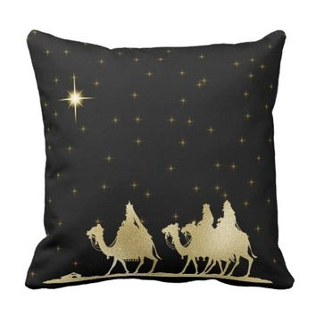 Gold Three Wise Men Throw Pillow