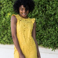 Rosie Yellow Crochet Shift Dress
