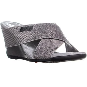 Anne Klein Lorri Wedge Slip On Sandals, Pewter, 6.5 US