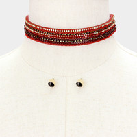 "12"" burgundy crystal studded layered choker collar necklace earrings .80"" wide"