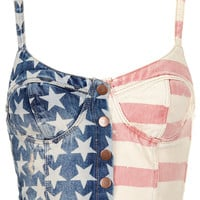 MOTO Flag Print Denim Bralet - Railroad - Clothing - Topshop USA