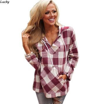 New Arrival 2016 spring Autumn Cotton Long Sleeve Red Checked Plaid Shirt Women Hoodie Casual Fit Blouse Plus Size Sweatshirt