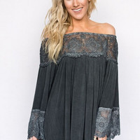 Laced Off The Shoulder Tunic Dress In Black