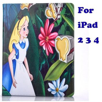 Tablet Case for Apple ipad 2 3 4 5 6 air air 2 pro9.7 2017 2018 Alice in wonderland the Little Mermaid prints Cover coque para
