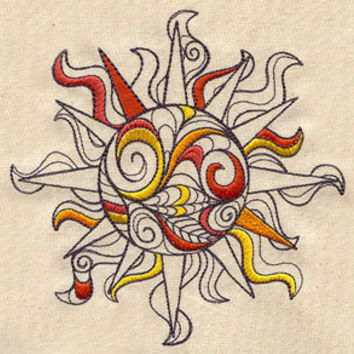 Spiral Sun embroidered Apron by MorningTempest on Etsy