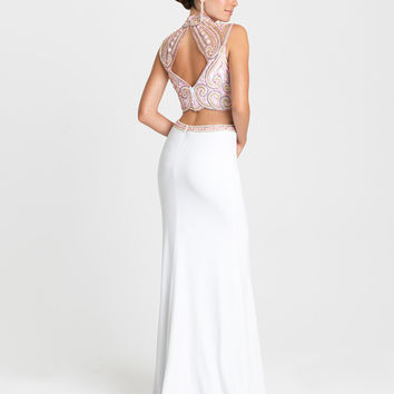 Madison James 16-388 in Stock White Multi SZ 6 Beaded Two Piece High Neck Prom Dress