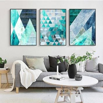 Abstract Geometric Turquoise Canvas Art Posters Canvas Prints Nordic Painting Wall Pictures for Living Room Home Decor 3 Pieces