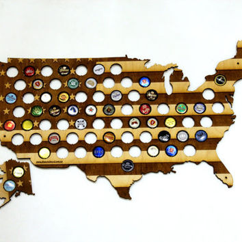 USA Beer Cap Map LASER ENGRAVED with Alaska, Beer Bottle Cap Holder, Boyfriend Gift for Him, Gift for Dad, Groomsmen gift, Father's Day Gift