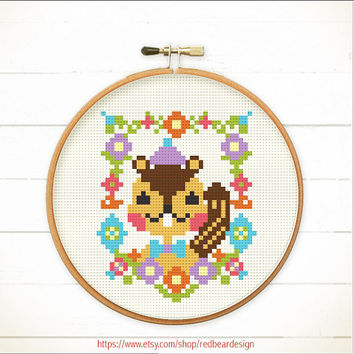 Kawaii Cross stitch pattern PDF - Mr Squirrel Floral Portrait  - Instant download - Happy Lovely sweet brown squirrel Woodland Animal