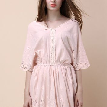 Tender Sweet Embroidered Dress in Pink