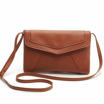 Envelope PU Leather Messenger Shoulder Crossbody Clutch