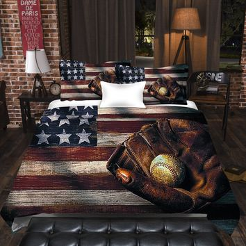 Baseball American Flag Duvet Cover Set