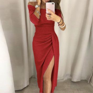 Elegant off shoulder women Sexy pleated slim wrap maxi dresses festa Spring side split long party dress vestidos 7 Color