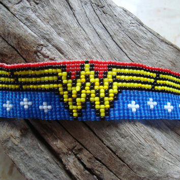 Wonder Woman Super Hero woven loom beaded bracelet Geek Nerdy sprite pixel comic