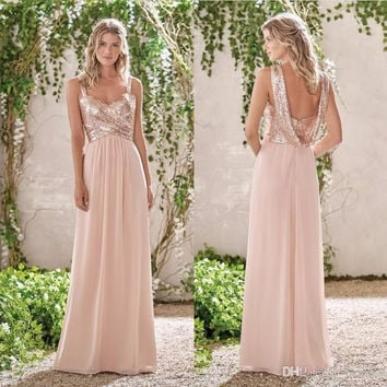 2017 New Rose Gold Bridesmaid Dresses A Line Spaghetti Backless Sequins Chiffon Wedding Gust Dress Maid of Honor  B107