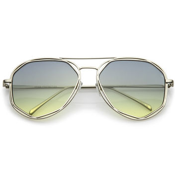 Retro Laser Cut Gradient Flat Lens Aviator Sunglasses A872