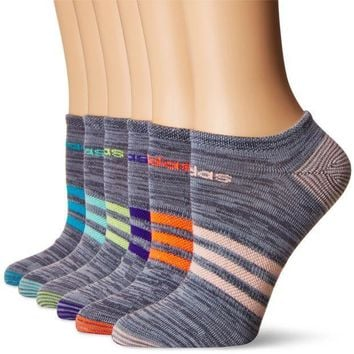 CREYN3C adidas Women's Superlite 6-Pack No Show Socks, Onix Clear Onix Space/Easy Green/Energy Ink Blue/Lucid Red/Frozen Yellow/Energy Blue/Haze Coral,Women's Sock size (5-10)