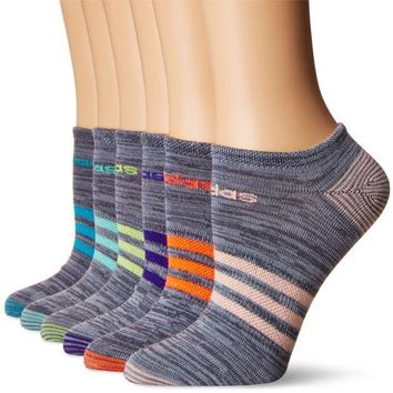 CREYONIS adidas Women's Superlite 6-Pack No Show Socks, Onix Clear Onix Space/Easy Green/Energy Ink Blue/Lucid Red/Frozen Yellow/Energy Blue/Haze Coral,Women's Sock size (5-10)