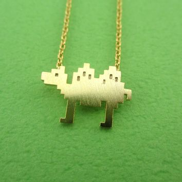 Pixel Camel Shaped Pendant Necklace in Gold