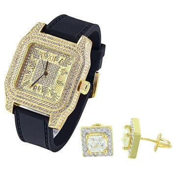 Hip Hop Men's Square Face 14k Yellow Gold Finish Watch with Matching Earrings Combo Set