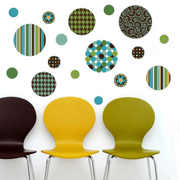 Delightful Dots: Teal, Lime Green and Brown Wall Decals