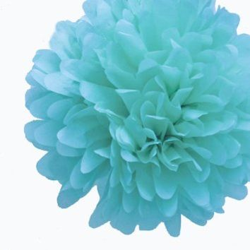 Dress My Cupcake 5-Inch Tiffany Blue Tissue Paper Pom Poms, Tiffany Blue Wedding Decorations/Party Supplies/Favors, Set of 8