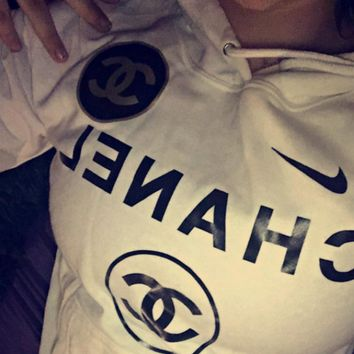 Nike and Chanel Print Hooded Pullover Tops Sweater Sweatshirts
