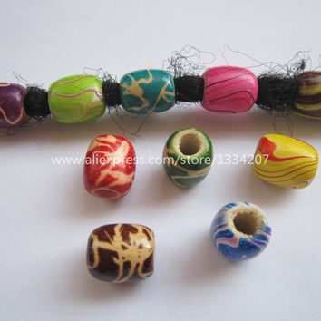 Free Shipping 20Pcs/Lot multi coloured hair braid dread dreadlock wooden Beads rings approx 5.5mm hole NO.02