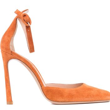 Gianvito Rossi Orange Suede Ankle Strap Pointed Toe Pumps