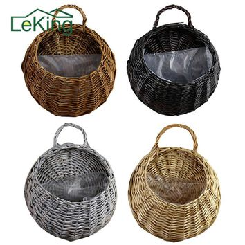 Wall Hanging Wicker Woven Braided Flower Basket Pot Planter Rattan Vase Basket Home Garden Wall Decoration Storage Container