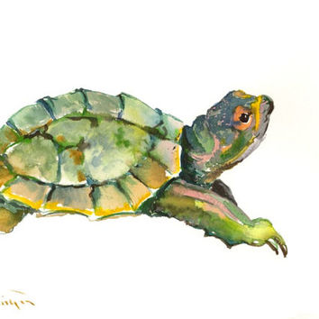 Turtle painting, original watercolor 12 x 9 in, cute yellow green blue turtle wall art