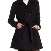 Black Belted Wool-Blend Trench Coat by Charlotte Russe