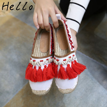 Espadrilles Spring Women Loafers Shoes 2017 Summer Canvas Round toe beading Hemp Bottom Flat Heels frisherman Shoes Women White