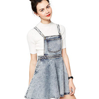 Washed Blue Denim Mini Overall Dress