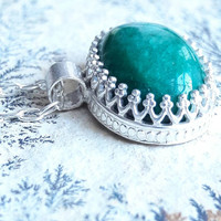 Genuine Emerald and Sterling Silver Pendant - Emerald Necklace - Green Stone Necklace - May Birthstone - Mothers Day Gift - Gift for Mom