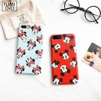 Luxury Cartoon Mickey Minnie Mouse Goofy Case For iPhone 6 6s 7 Plus Night Light Hard PC Half Back Phone Cover Candy Color Capa