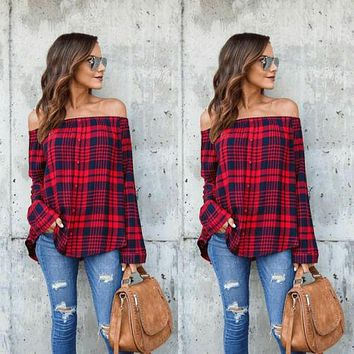 Women Off Shoulder Sexy Plaid Tops Long Sleeve Shirt Casual Blouse Loose T-shirt
